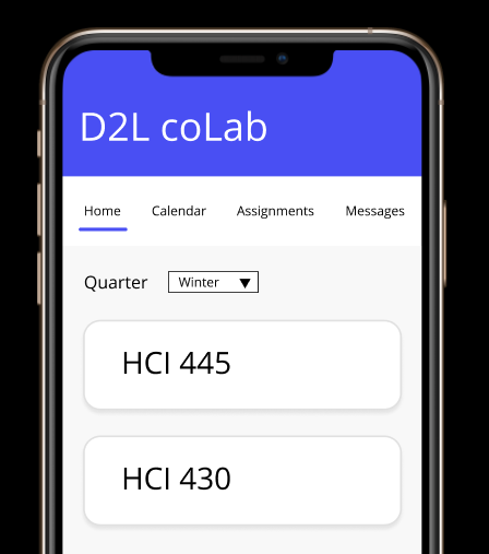 A screenshot of the d2l coLab mobile prototype